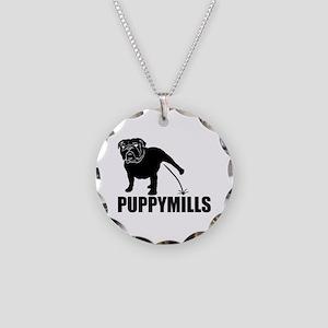 BULLDOG [pee on] PUPPYMILLS Necklace Circle Charm